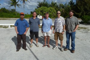 J.M. Bryden, Kiritimati Island (center, blue shirt)